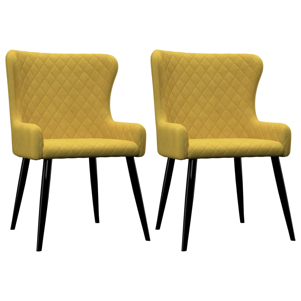 Dining Chairs 2 pcs Yellow Velvet