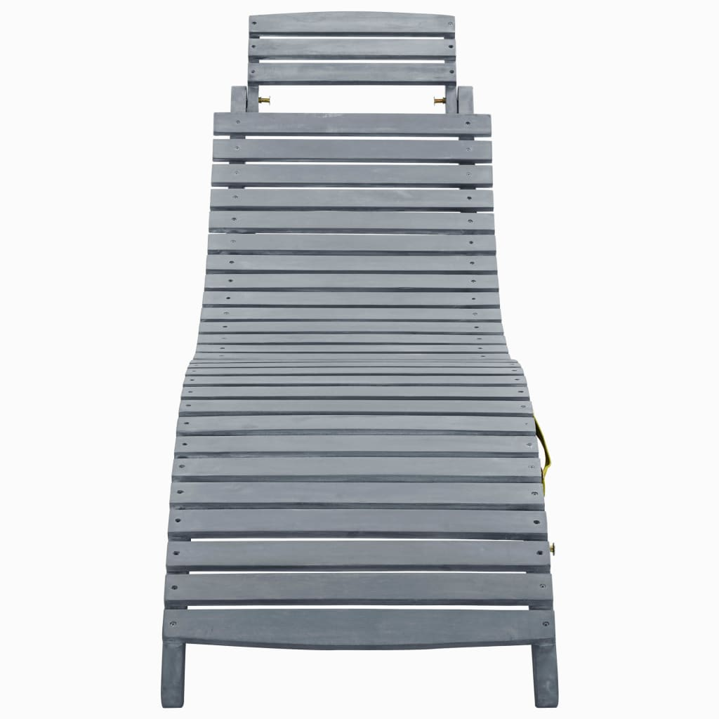 Sun Lounger Grey Wash Solid Acacia Wood 2