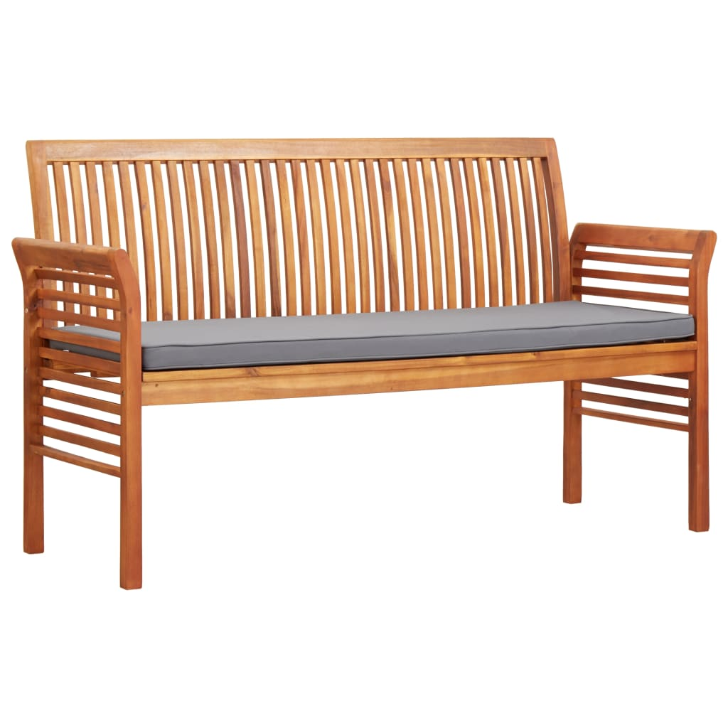 3-Seater Garden Bench with Cushion 150 cm Solid Acacia Wood