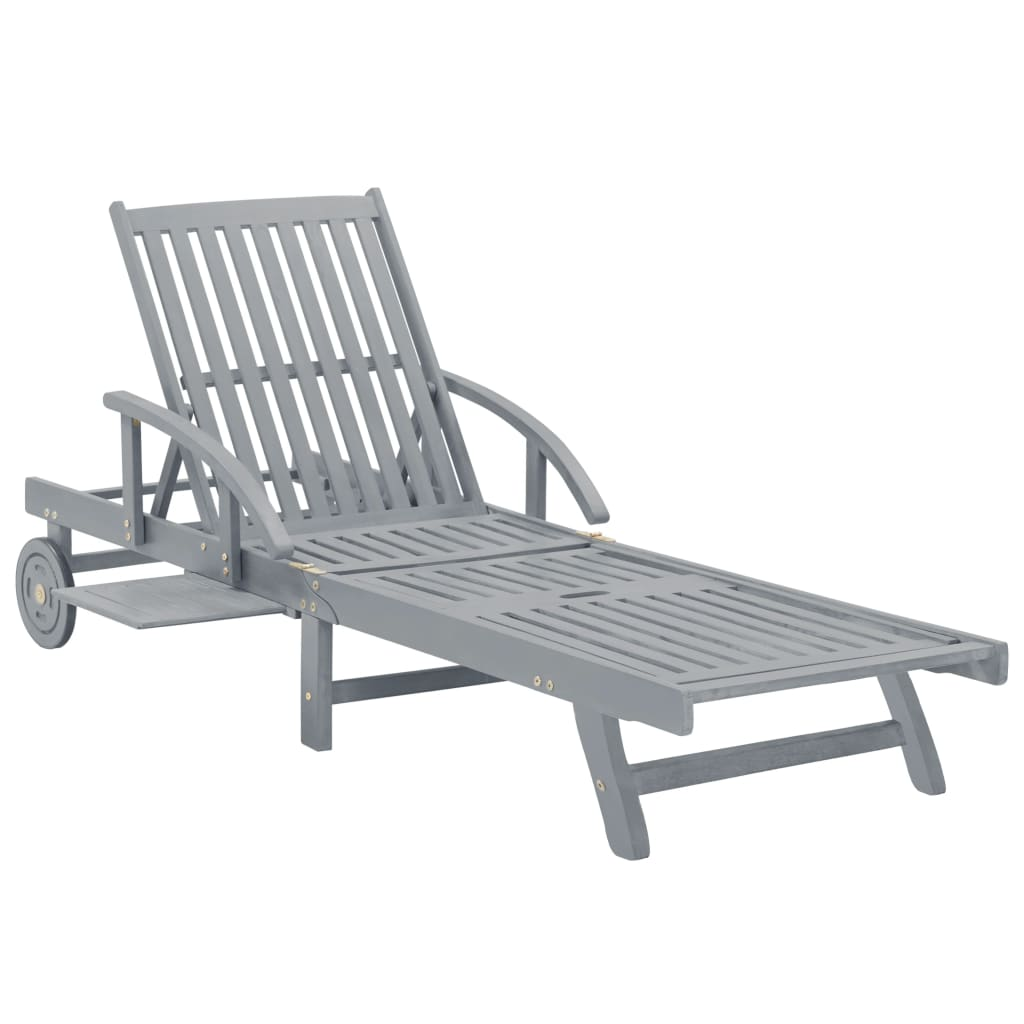 Garden Sun Lounger Grey Solid Acacia Wood