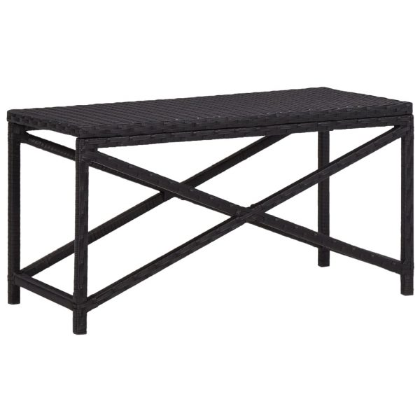 Garden Bench 80 cm Poly Rattan Black 1