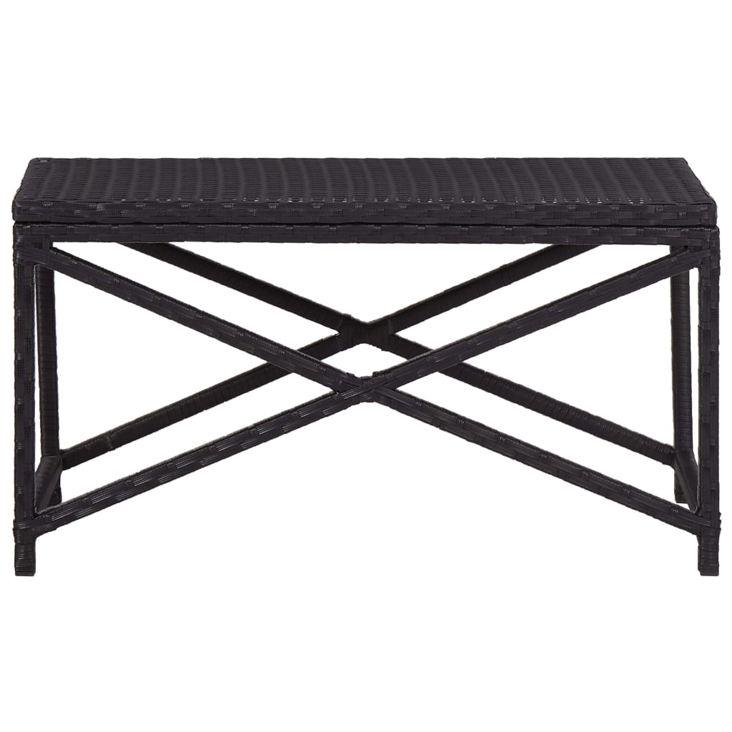 Garden Bench 80 cm Poly Rattan Black 2
