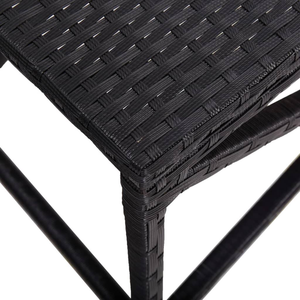 Garden Bench 80 cm Poly Rattan Black 4