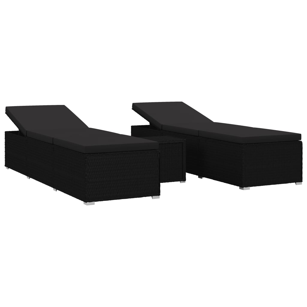 3 Piece Garden Sun Lounger Set Poly Rattan Black