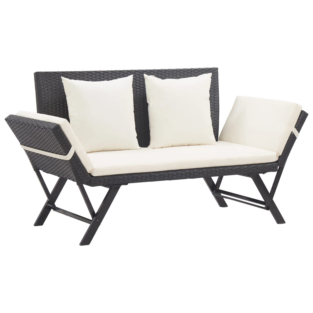 Garden Bench with Cushions 176 cm Black Poly Rattan