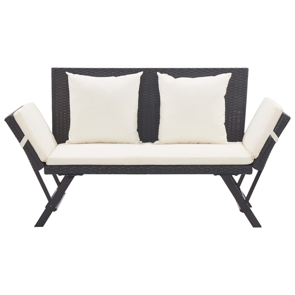 Garden Bench with Cushions 176 cm Black Poly Rattan 2
