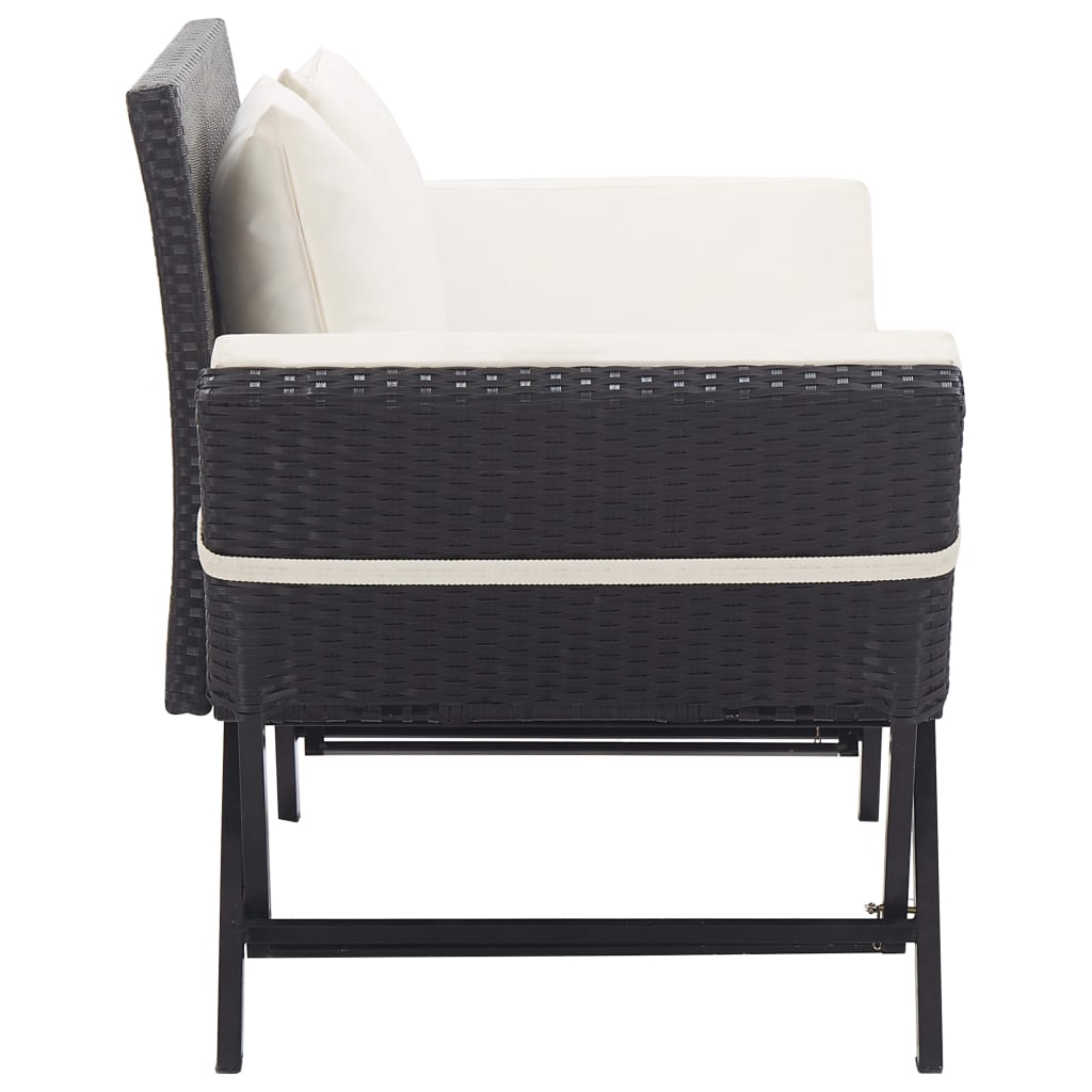 Garden Bench with Cushions 176 cm Black Poly Rattan 3