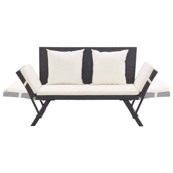 Garden Bench with Cushions 176 cm Black Poly Rattan 5