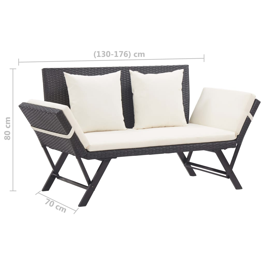 Garden Bench with Cushions 176 cm Black Poly Rattan 10