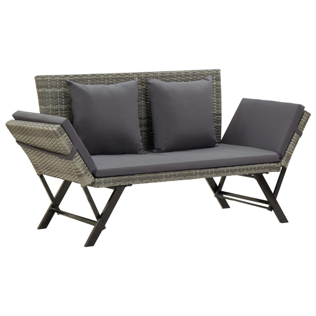 Garden Bench with Cushions 176 cm Grey Poly Rattan