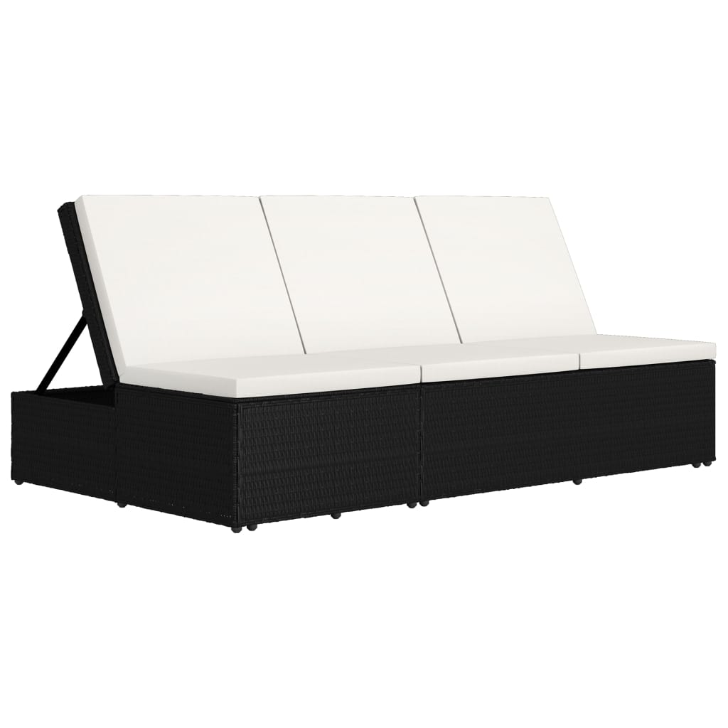 Convertible Sun Bed with Cushion Poly Rattan Black 4