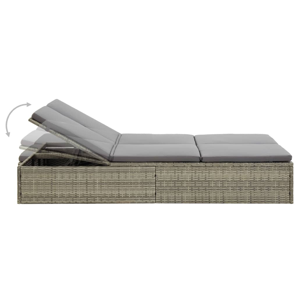 Convertible Sun Bed with Cushion Poly Rattan Grey 5