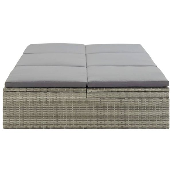 Convertible Sun Bed with Cushion Poly Rattan Grey 7