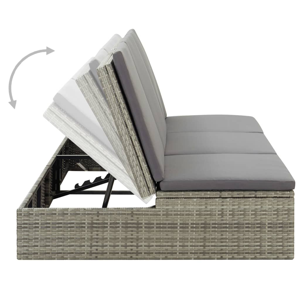 Convertible Sun Bed with Cushion Poly Rattan Grey 9