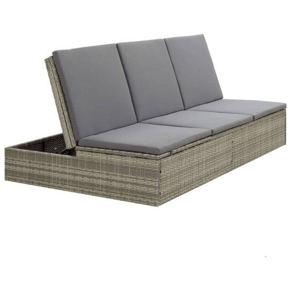 Convertible Sun Bed with Cushion Poly Rattan Grey 10