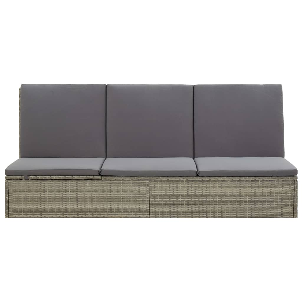 Convertible Sun Bed with Cushion Poly Rattan Grey 11