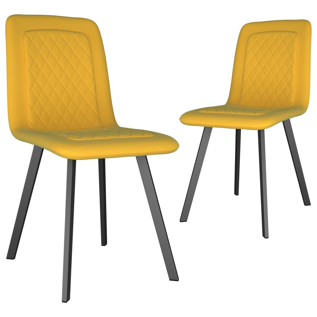 Dining Chairs 2 pcs Yellow Velvet 1