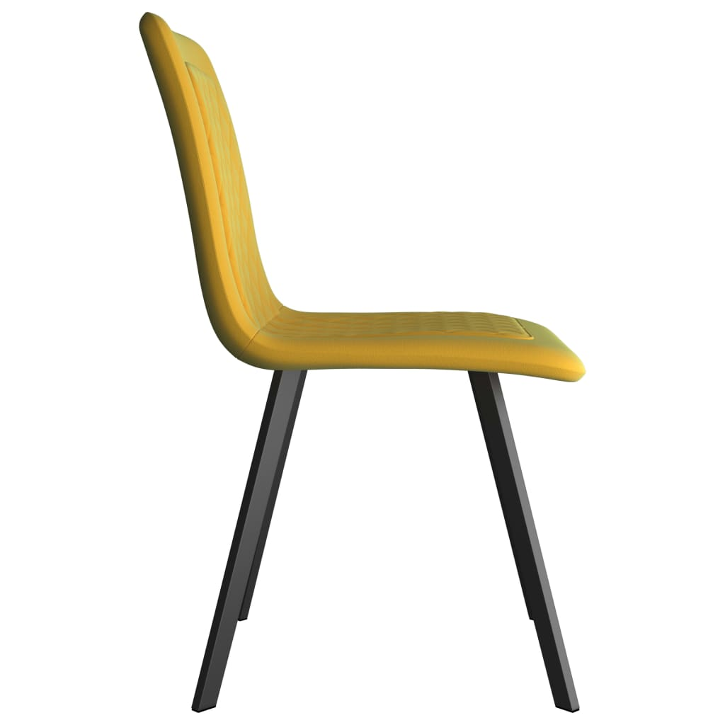 Dining Chairs 2 pcs Yellow Velvet 4