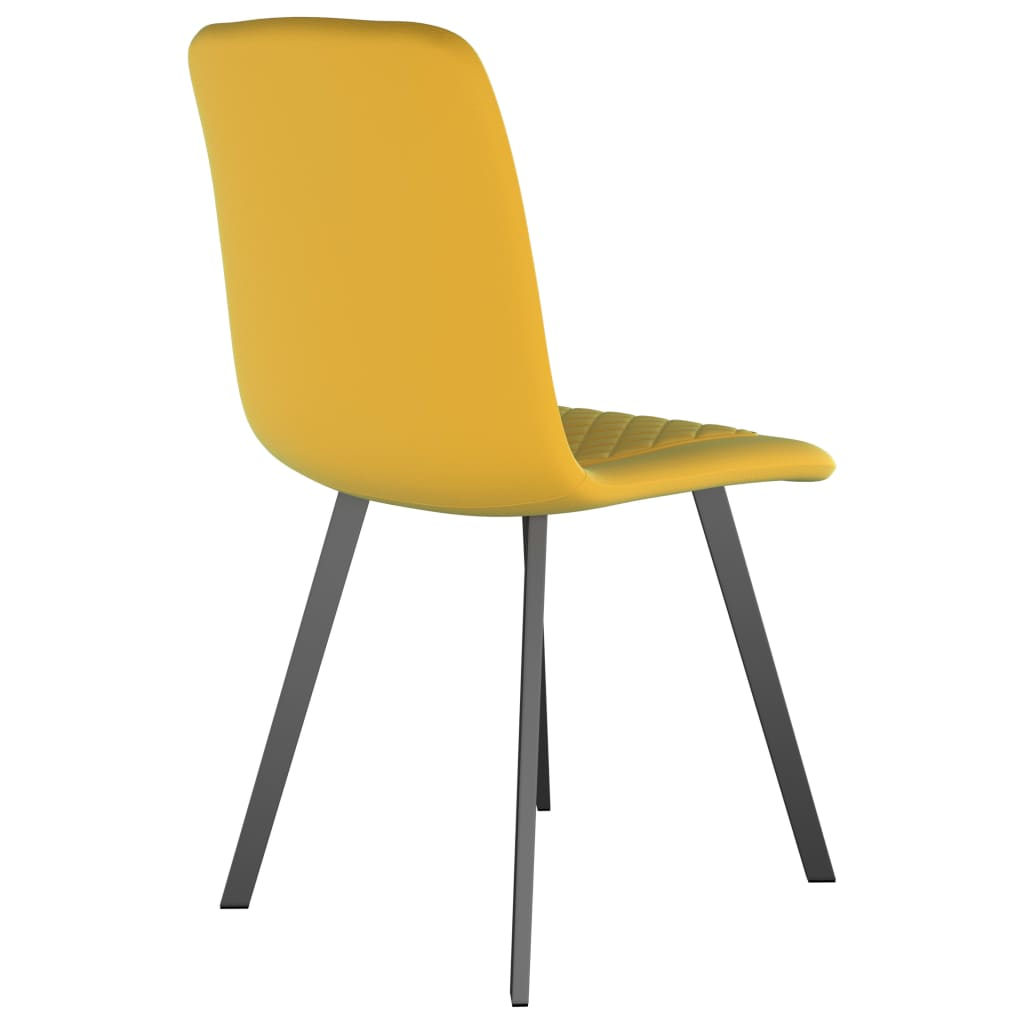 Dining Chairs 2 pcs Yellow Velvet 5