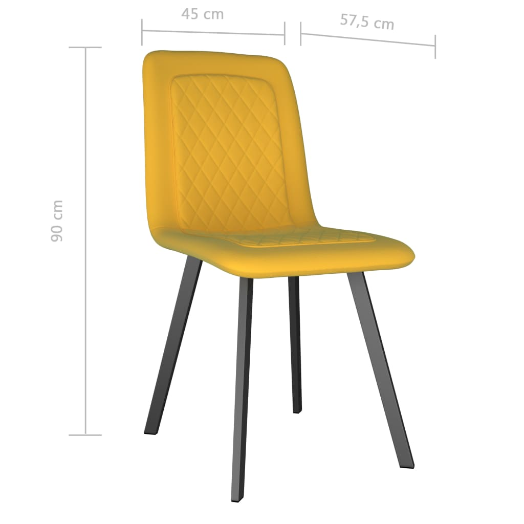 Dining Chairs 2 pcs Yellow Velvet 7