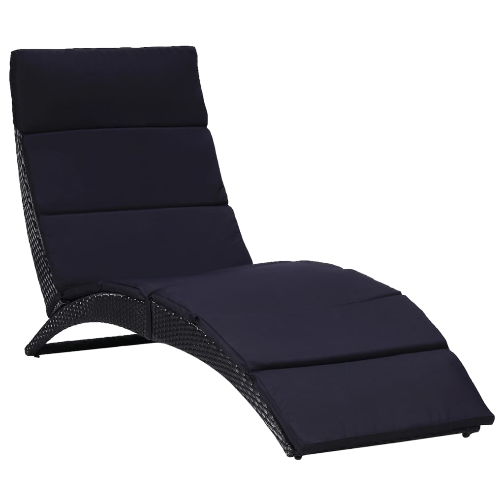 Sunbed with Cushion Poly Rattan Black
