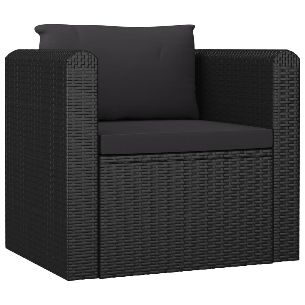 Single Sofa with Cushions Poly Rattan Black