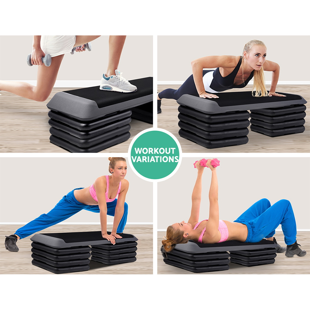 Everfit 5 Level Aerobic Exercise Step Stepper Riser Gym Cardio Fitness Bench 6