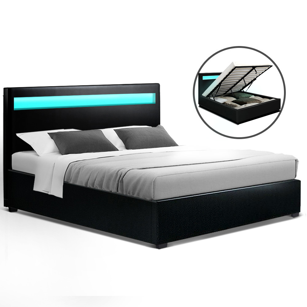 Artiss LED Bed Frame Queen Size Gas Lift Base With Storage Black Leather 1