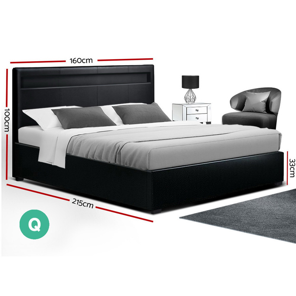 Artiss LED Bed Frame Queen Size Gas Lift Base With Storage Black Leather 2