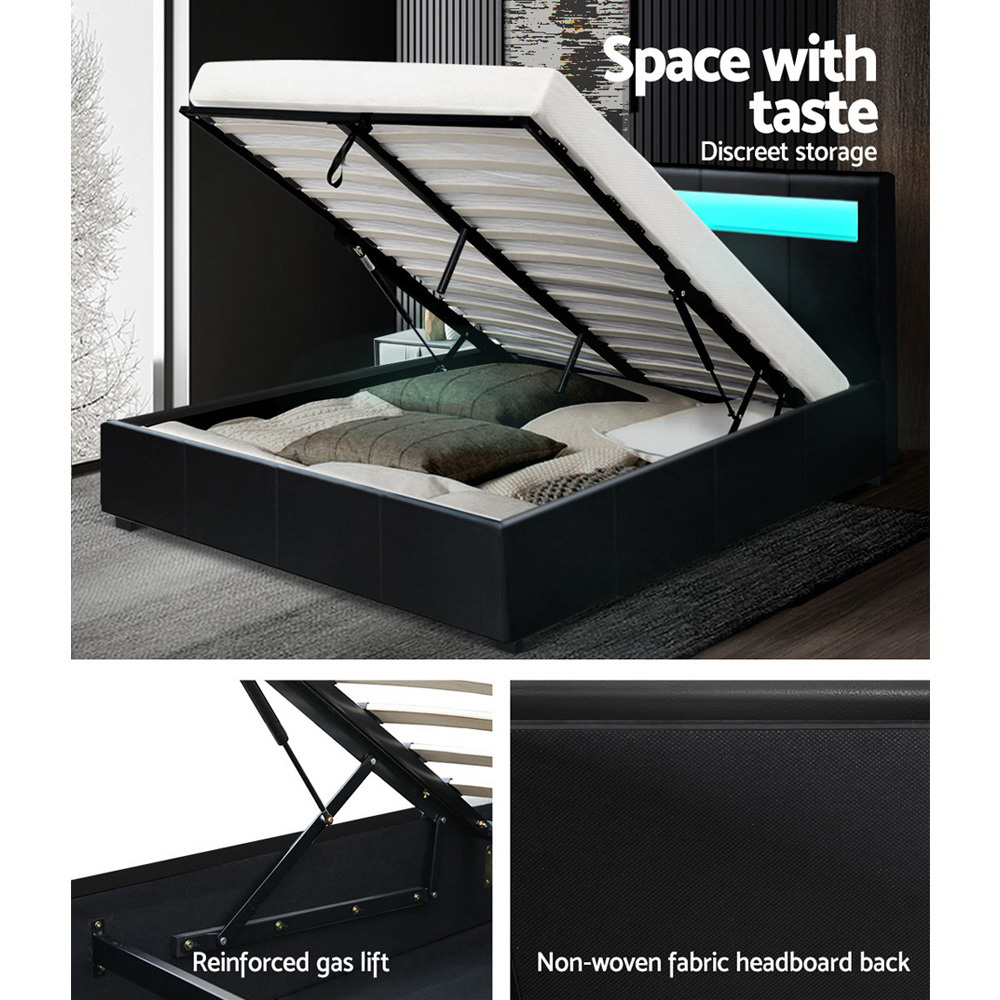 Artiss LED Bed Frame Queen Size Gas Lift Base With Storage Black Leather 6