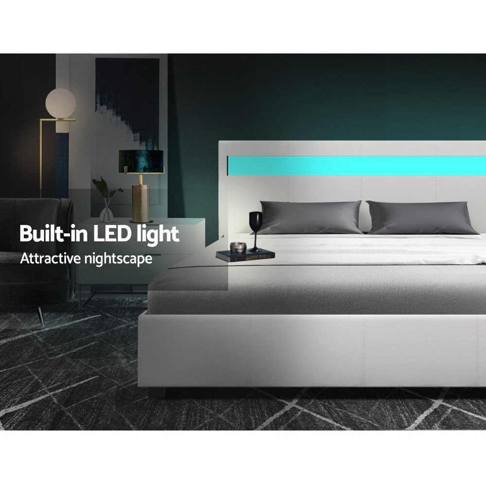Artiss LED Bed Frame Queen Size Gas Lift Base With Storage White Leather 4
