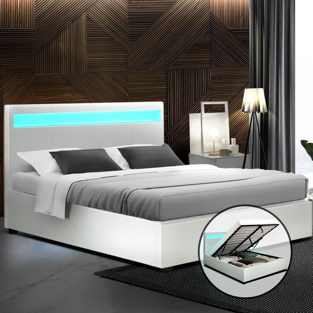 Artiss LED Bed Frame Queen Size Gas Lift Base With Storage White Leather 7