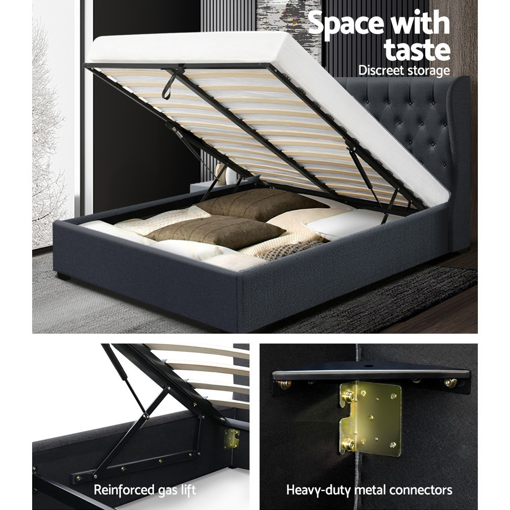 Artiss Double Full Size Gas Lift Bed Frame Base With Storage Mattress Charcoal Fabric Wooden 4