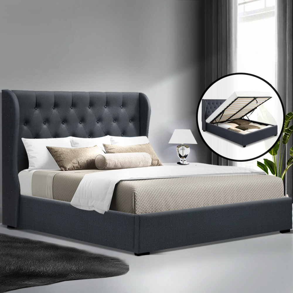 Artiss Double Full Size Gas Lift Bed Frame Base With Storage Mattress Charcoal Fabric Wooden 7