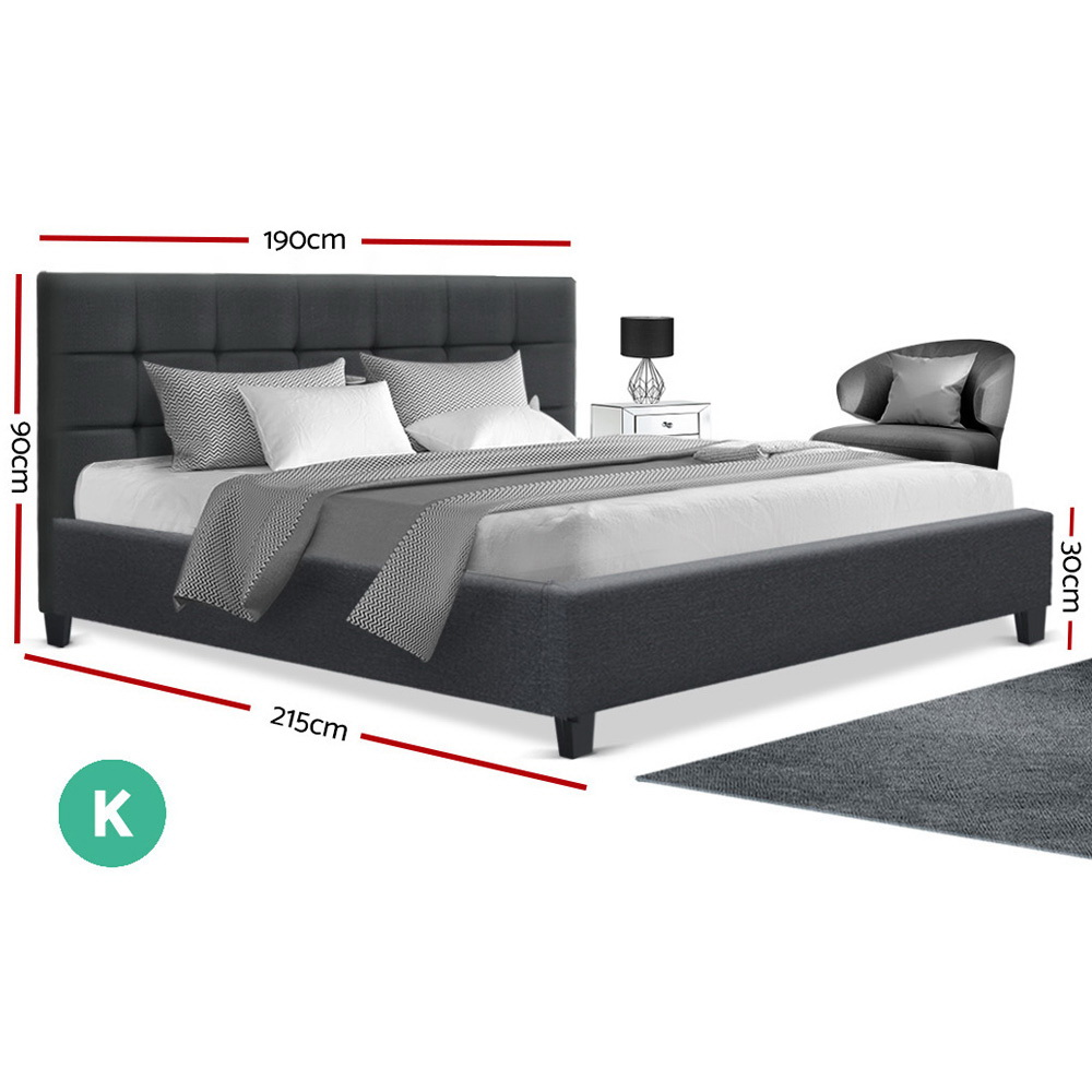 Artiss King Size Bed Frame Base Mattress Platform Charcoal Fabric Wooden SOHO 2