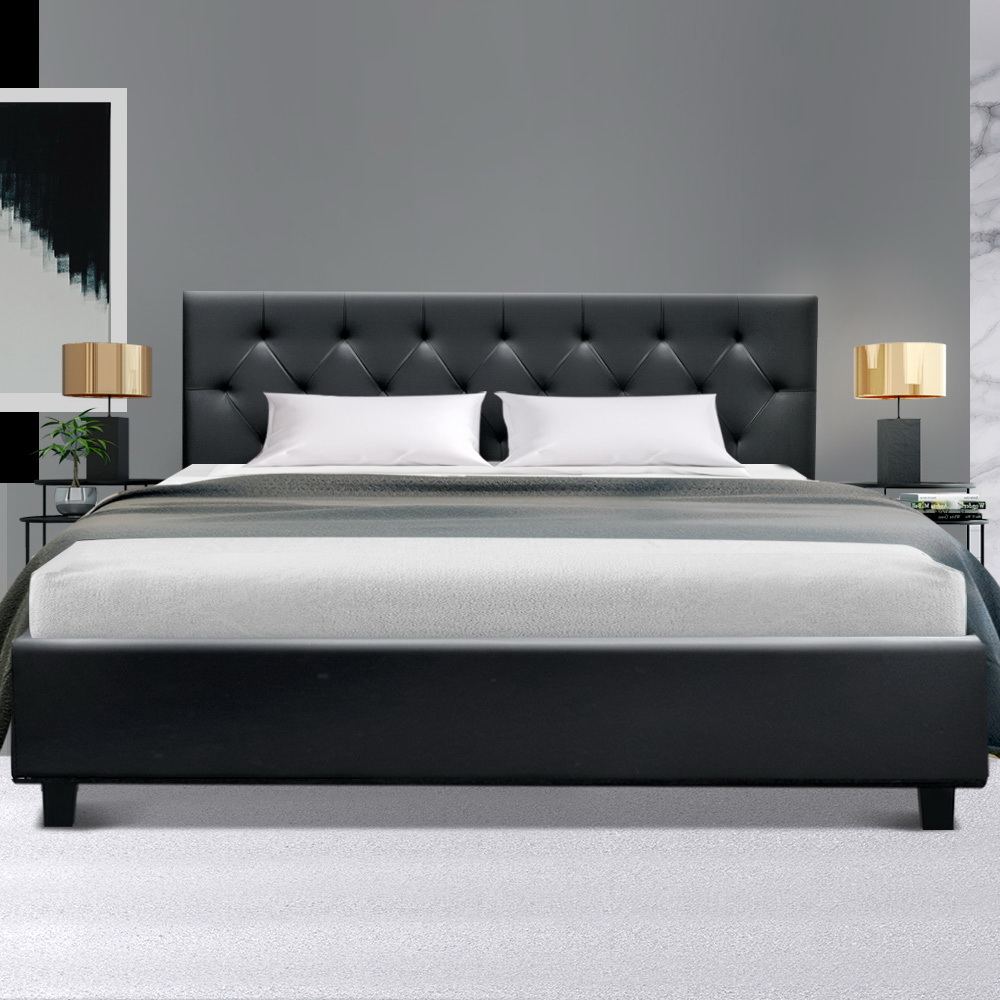 Artiss Queen Size Bed Frame Base Mattress Wooden Black Leather VANKE 7