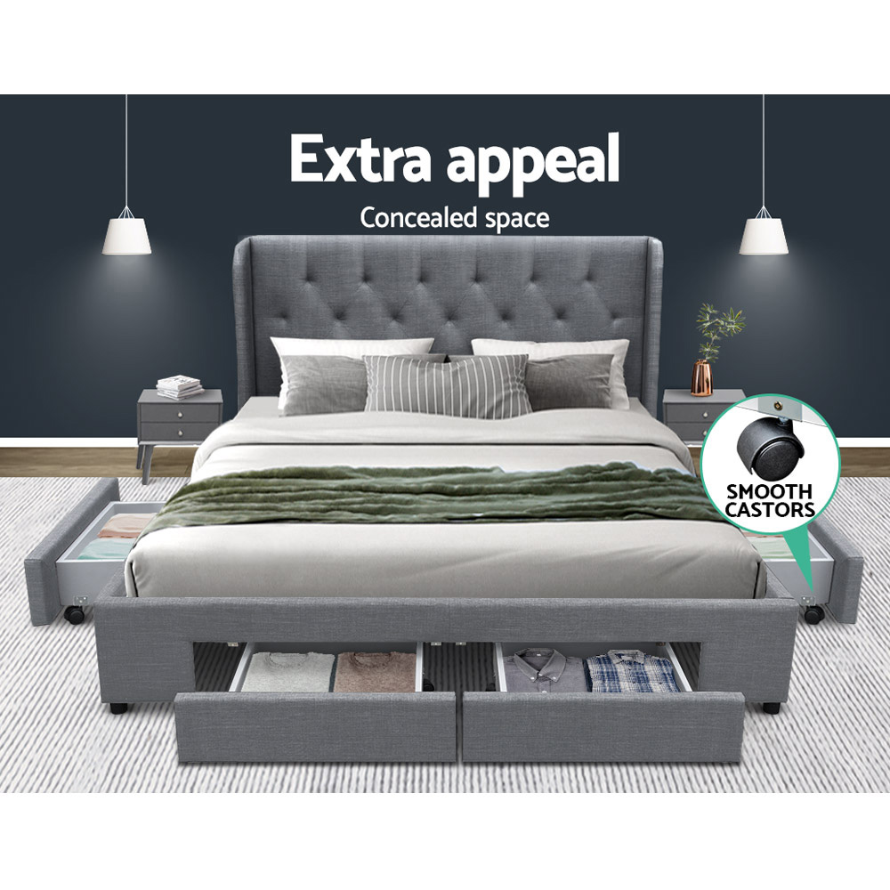 Artiss Double Full Size Bed Frame Base Mattress With Storage Drawer Grey Fabric MILA 3