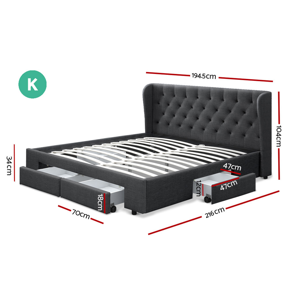 Artiss King Size Bed Frame Base Mattress With Storage Drawer Charcoal Fabric MILA 2