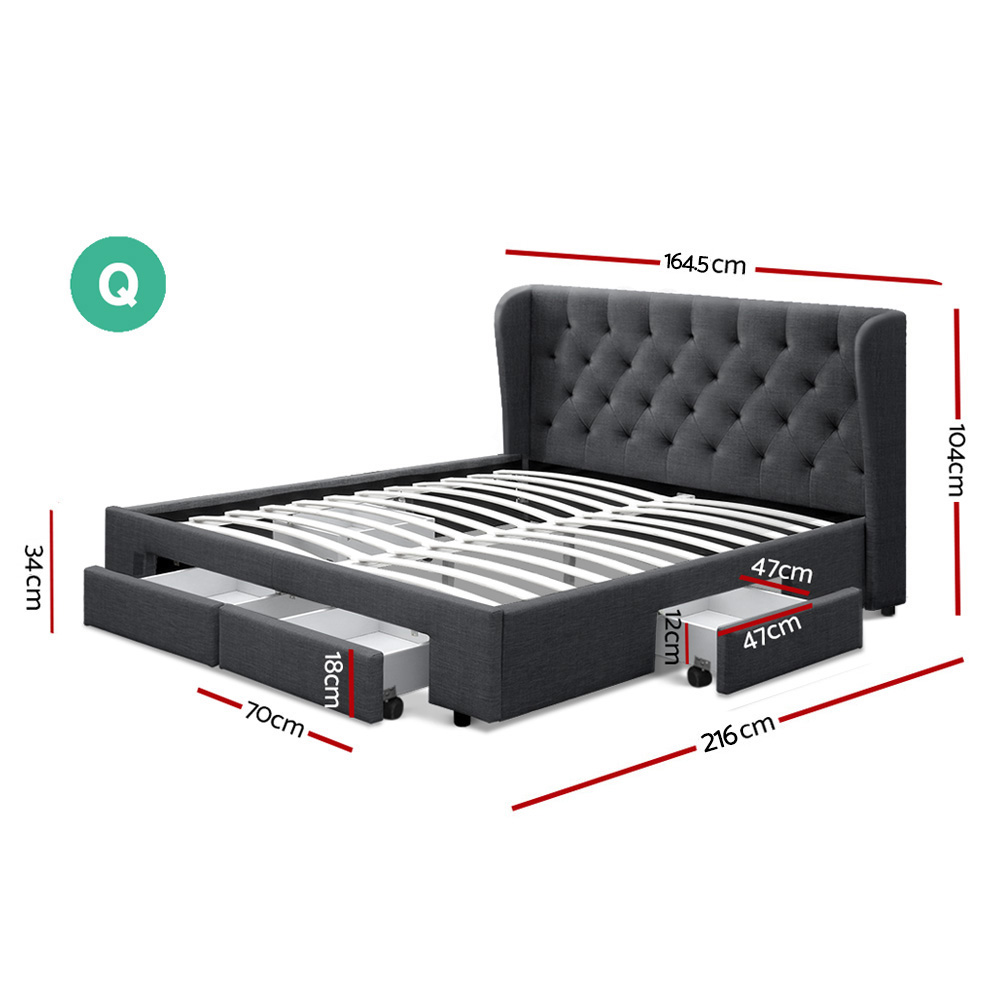 Artiss Queen Size Bed Frame Base Mattress With Storage Drawer Charcoal Fabric MILA 2