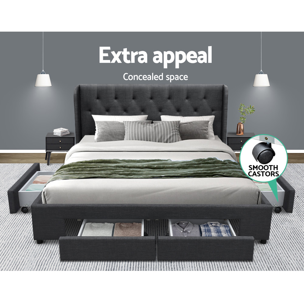 Artiss Queen Size Bed Frame Base Mattress With Storage Drawer Charcoal Fabric MILA 3