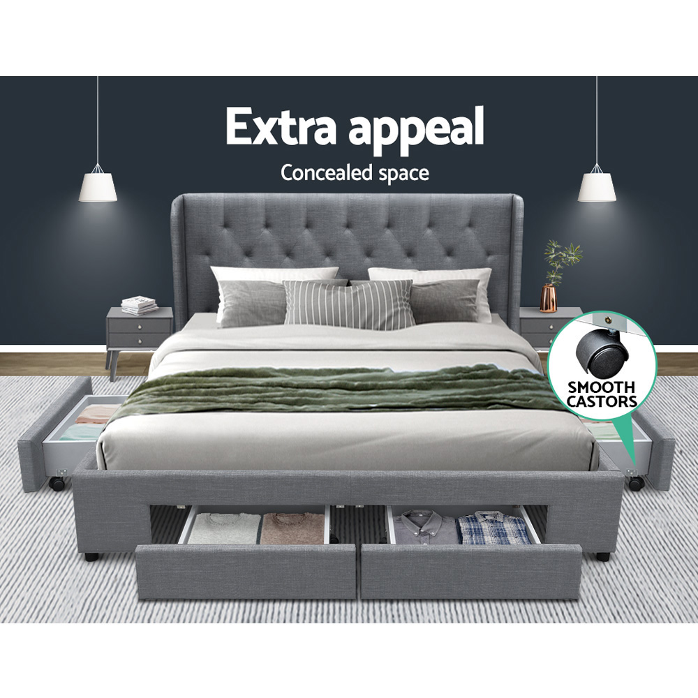 Artiss Queen Size Bed Frame Base Mattress With Storage Drawer Grey Fabric MILA 3