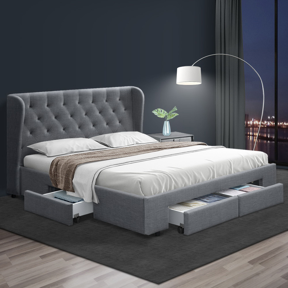 Artiss Queen Size Bed Frame Base Mattress With Storage Drawer Grey Fabric MILA 7