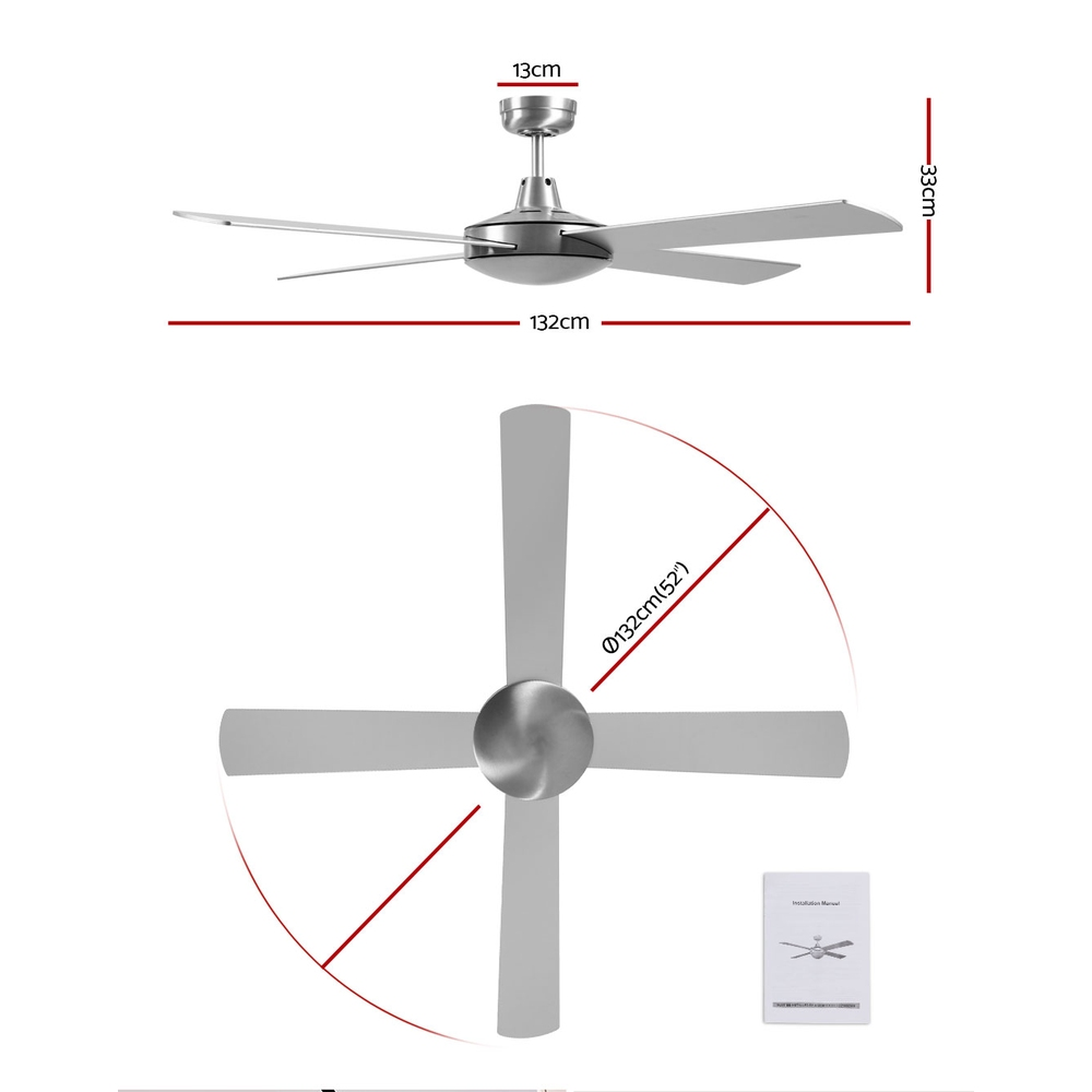 Devanti 52 inch 1300mm Ceiling Fan 4 Wooden Blades with Remote Reversible Fans Silver 2