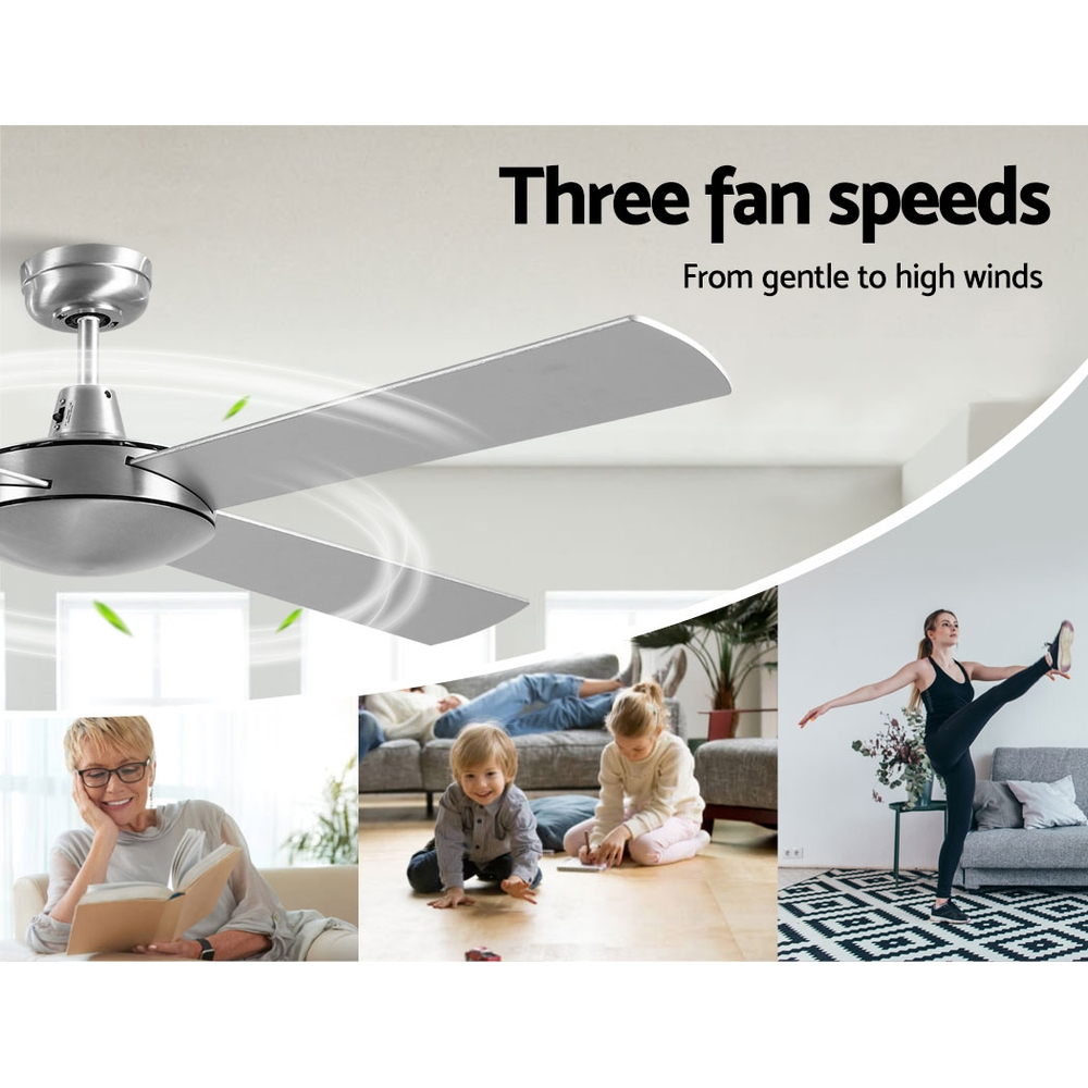 Devanti 52 inch 1300mm Ceiling Fan 4 Wooden Blades with Remote Reversible Fans Silver 3