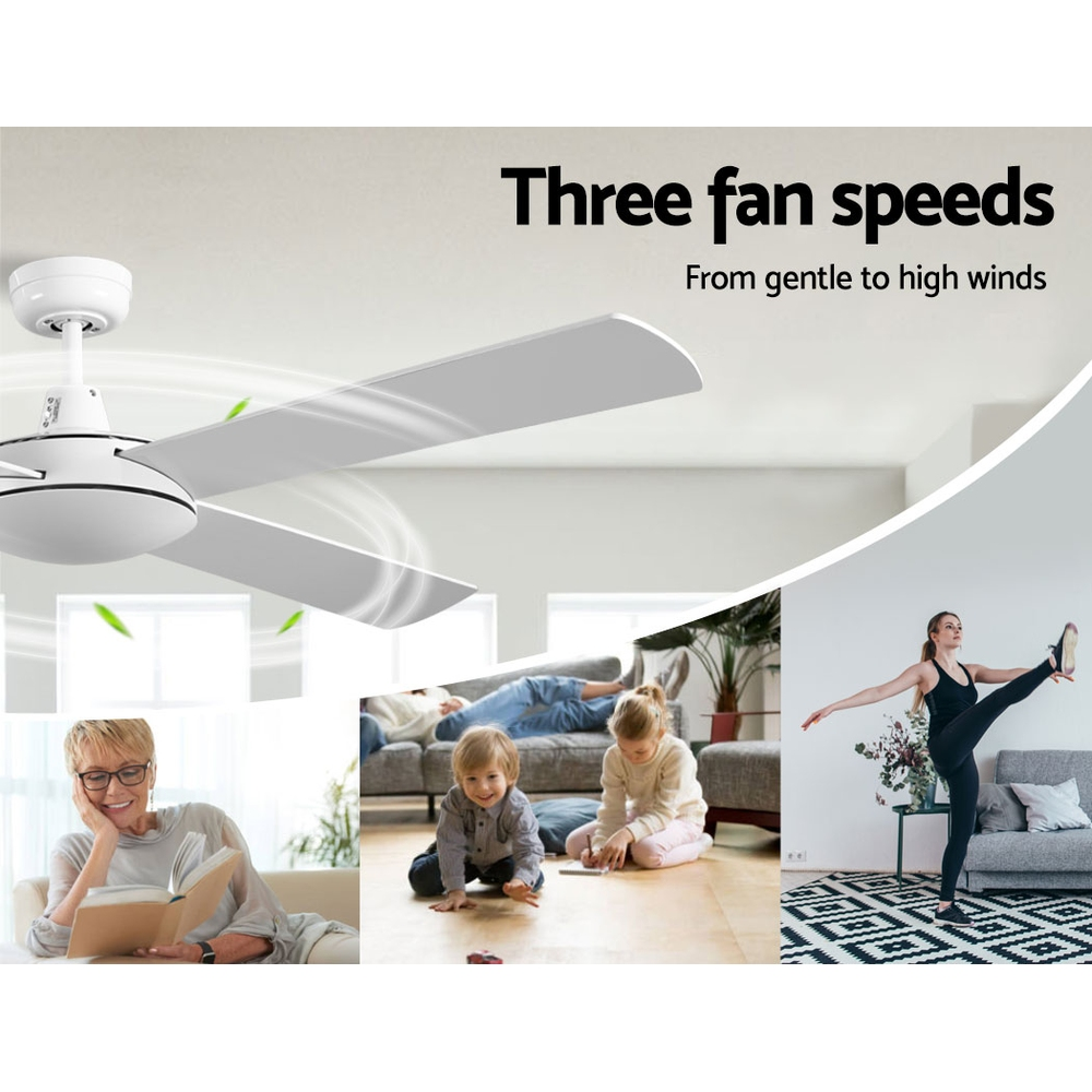 Devanti 52 inch 1300mm Ceiling Fan 4 Wooden Blades with Remote Reversible Fans White 3