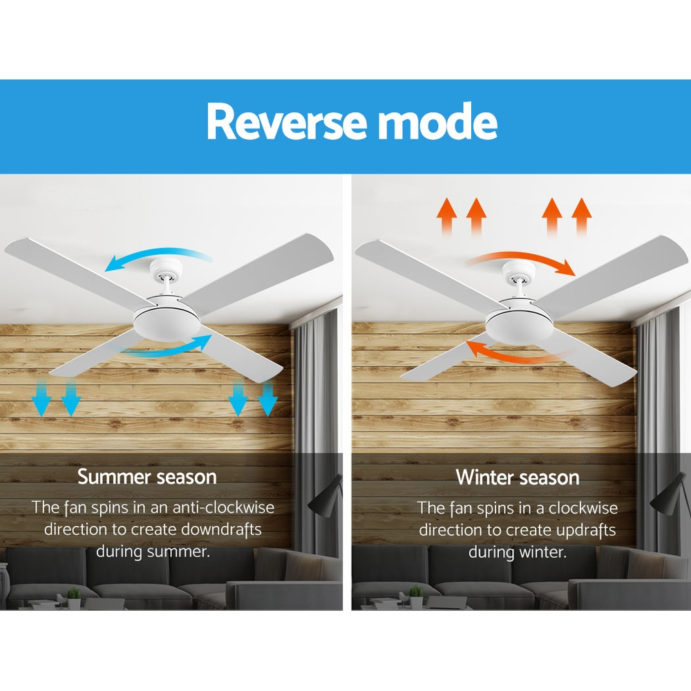 Devanti 52 inch 1300mm Ceiling Fan 4 Wooden Blades with Remote Reversible Fans White 4