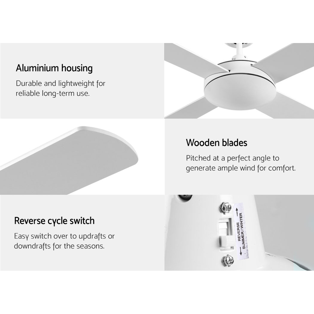 Devanti 52 inch 1300mm Ceiling Fan 4 Wooden Blades with Remote Reversible Fans White 7