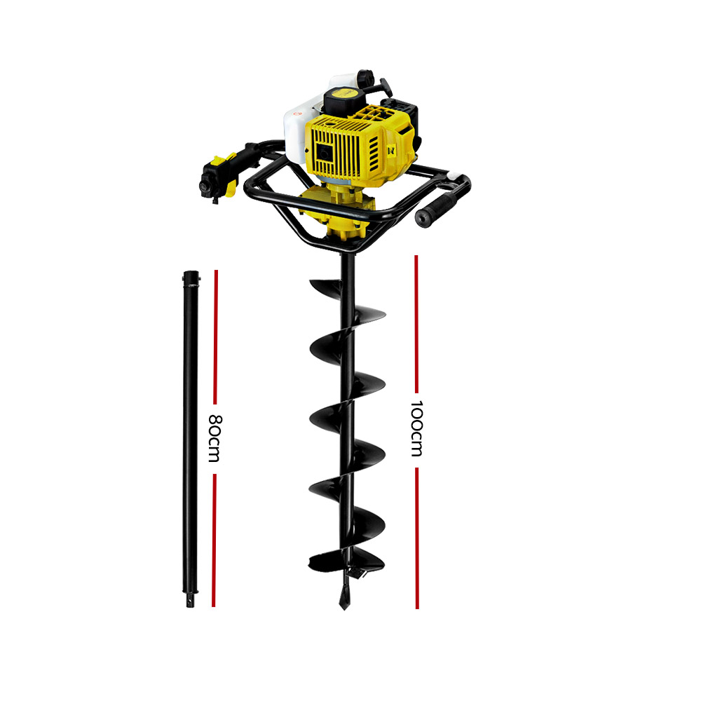 Giantz 88CC Petrol Post Hole Digger Auger Drill Borer Fence Earth Power 200mm 2