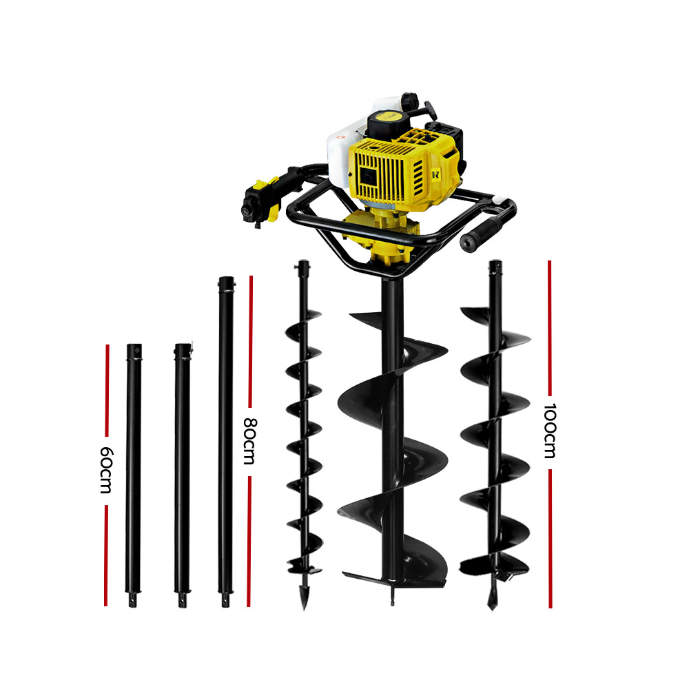 Giantz 88CC Post Hole Digger Auger Petrol Drill Borer Fence Earth Power 2