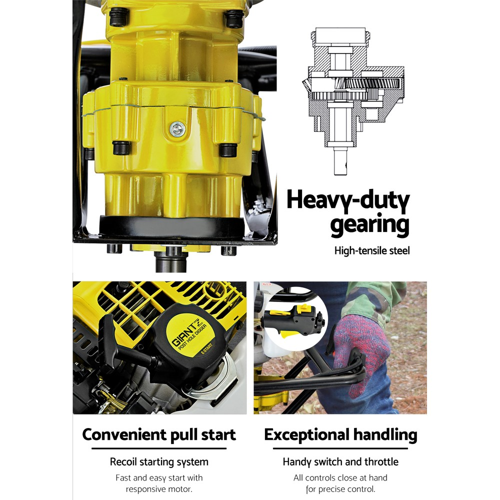 Giantz 88CC Post Hole Digger Auger Petrol Drill Borer Fence Earth Power 4